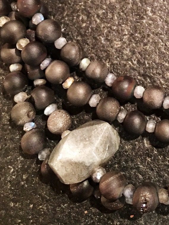 Gray Agate Druzy Gemstone Beads w/Labradorite Roundels & Nuggets. Pave Clasp