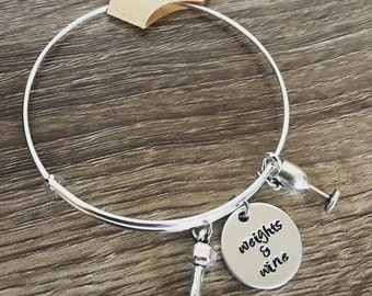 Weights & Wine bracelet / Dumbbell charm / Wine glass bracelet / Friend gift / Weight lifting / hand stamped charm bangle / Workout and wine