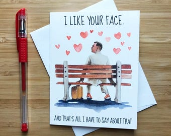 Forrest Gump Card, Just Because Card, Cute Love Card, Anniversary Card, Love Greeting Cards, Greeting Card, Romantic Card, Pop Culture Gift