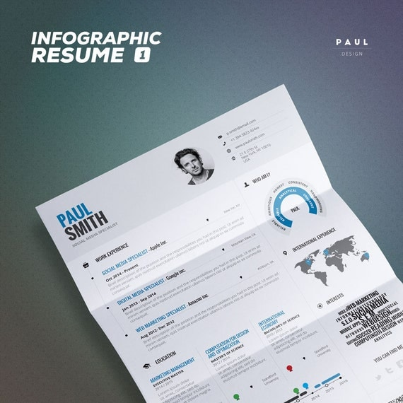 infographic resume vol 1 word indesign and by theresumecreator