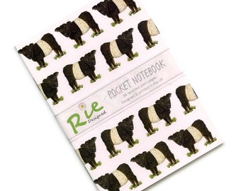 Beltie Notebook A6 Recycled Plain Paper Journal Jotter Notebook Sketch Belted Galloway Cow Pocket Note Book