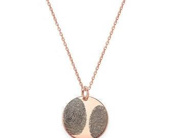 """Two Actual Fingerprints 3/4"""" disc Necklace in 18k Rose Gold Plated 925 Sterling Silver, Personalized Fingerprint Jewelry, Christmas Gifts"""