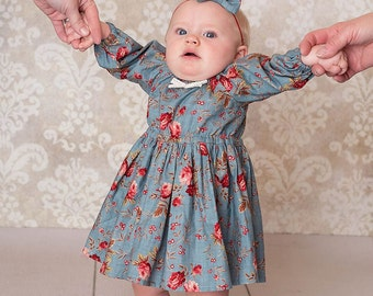 Vintage Style Floral Girls Dress, Peasant Dress, Baby Clothing, Bohemian, Retro, Blue Dress, Girls Clothing