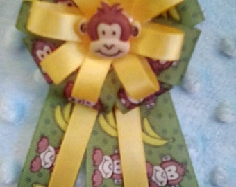 Monkey baby shower corsage