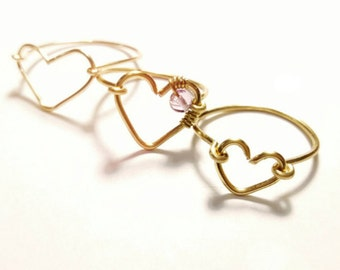 Custom made ring, heart shaped ring, wire ring, handmade ring, wire wrapped ring, heart ring,