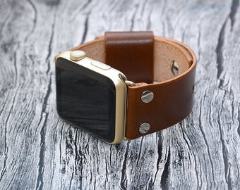 Leather apple watch band 42mm / 38mm // Brown iwatch band - apple watch accessories - apple watch strap leather - rose gold lugs adapter
