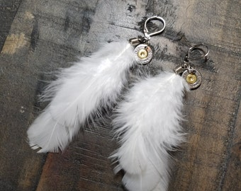 Handmade Bullet and Feather Earrings (White) for the Country Hunting Girl, Bullet Earrings