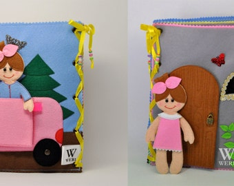 Dollhouse Quiet Book/ 10 pages/ Felt Quiet Book/ Busy Book/ Handmade/ Travel Toy