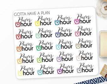 Planner Stickers Power Hour for Erin Condren, Happy Planner, Filofax, Scrapbooking