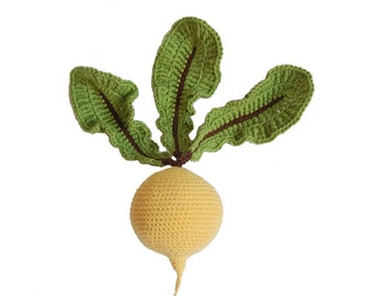 Crochet Turnip(1 pcs)-Play Pretend Food Crochet Vegetables Teether Teeth Montessori Toys Kitchen Play Food