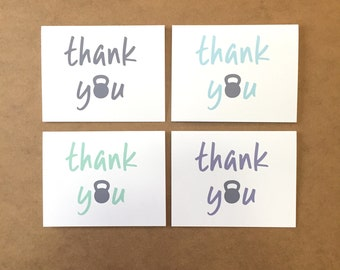 Thank You Card - Kettle Bell - Thank You - Thanks - Fitness - Gym - Kettle Bells - Exercise - Weight - Workout - Kettle Bell Swing