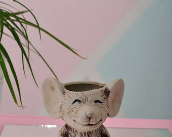 Vintage Mouse Planter//Pencil Holder - Ceramic and Super Cute!