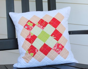 Quilted Great Granny Square Pillow Cover, Decorative Couch Pillow, Home Decor Pillow