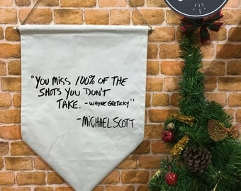 SALE !! The Office banner flag and hanging device, Michael Scott Quote, wall hanging decoration, The Office TV Show christmas gift
