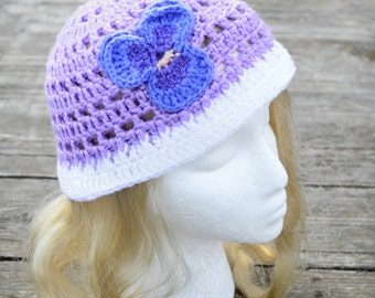 Girl's summer hat, little girl sunhat, toddler bucket hat, purple and white, pansy flower, handmade crochet, easter hat, size 3T to 8 years