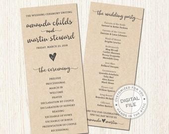Kraft wedding ceremony program, bridal party lineup, order of events service, printable wedding agenda, rustic weddings, customized DIGITAL