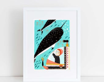 Little Wonders A5 Print | Art Print | Nursery | Imagination | Narwhal | Nautical | Under the Sea | Illustration | Childrens Illustration