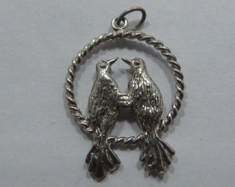 Pair Of Lovebirds Facing Each Other Sterling Silver Charm for Bracelet or Pendant