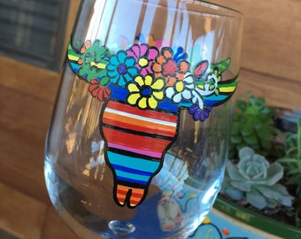 Hand Painted Serape Longhorn Wine Glass