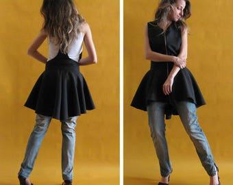 Black vest , Long vest , Fashion vest , Backless jacket , Asymmetric jacket , Party vest , Open back vest , Zipped vest , Peplum vest