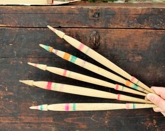 Wood Spindles - Primitive Bulgarian Spindles Set of 5 - Antique Spindles - Wool Spindles - Turned Wooden Spindles - Rustic Decor