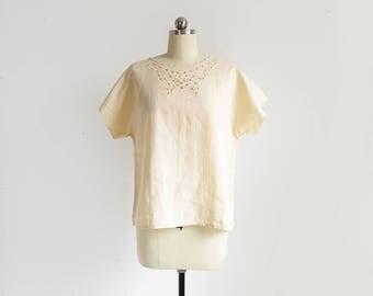 vintage cream cotton blouse / pale yellow cutwork top / boxy short sleeve collarless shirt / womens M - L