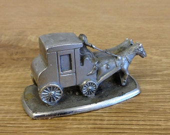 Vintage Headless Horseman On A Stagecoach Pewter Model - Unusual Quirky Item.