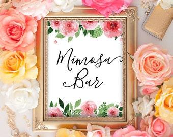 Mimosa Bar Sign, Mimosa Bar Printable Sign,Wedding Bar Sign, Bubbly Bar Printable Sign, Floral Bridal Shower Decor, Wedding Instant Download
