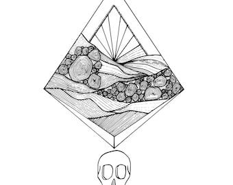 Geometric Sunset Skull - printable coloring page, geometric, illustration, vector