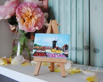 Mini easel canvases Monet field of tulips Holland, original, hand-painted acrylic on canvas 5 x 7 cm