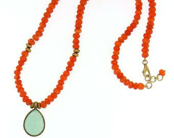 Carnelian Beads with Chalcedony Pendant 24K Gold Vermeil Necklace