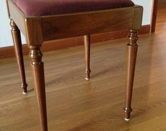 Vintage Stool, Bench, Wood Bench, Upholstery Bench