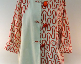 Long Cotton Jacket with Unique Red Pattern - SP16-5611