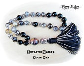 Mini Pocket Mala, 27 Bead Mala, Prayer Beads, Wrist Mala, Buddhist, Rutilated Quartz, Black Onyx, Chakras, Healing Past, Spiritual Growth