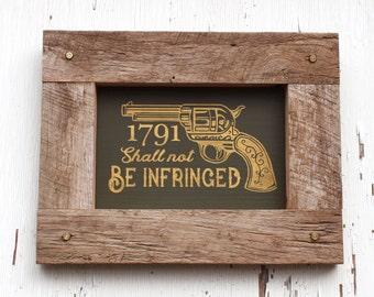 2nd Amendment - Wall Decor - Man Cave Decor - Second Amendment - Pro Gun - 1791 - Come And take It - Artwork  Bullet  Barn Wood Guns  rustic