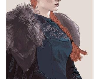 Sansa Stark - Print of Game of Thrones character / high quality giclee print