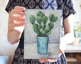 Cactus painting| Small painting| Original painting| Acrylic painting| Cactus