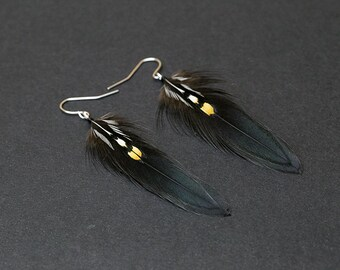 Gothic Feather Earring: iridescent black feathers, feathers earring, goth earrings, punk earrings, gothic earrings, rocker earring jewelry