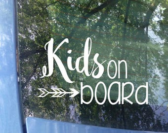Kids on board Window Decal | Car Decal | New Baby | Baby Shower Gift | Baby on board Sticker | Mom Decal | Child on board | Safety | Van