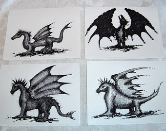 Black & White Dragon Art Greeting Cards, Set of 4 Original Pen and Ink Drawings, Blank Cards with Envelopes