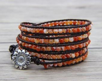BOHO bead bracelet Orange onyx agate bead bracelet bead wrap bracelet leather wrap bracelet Natural stone bracelet Girl bracelet SL-0549