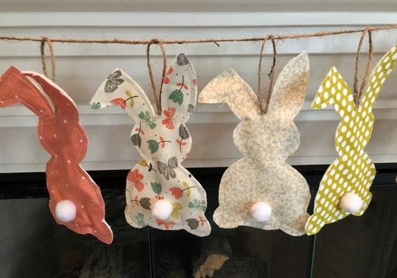 Peachybunny Fabric Garland Pastels Bunny Bunting Baby