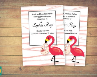 Baby announcement card, Printable flamingo birth announcing, Announcements arrival cards, Digital flamingo card, Baby girl arrival