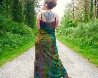 Green Rainbow Tie Dye Maxi Dress Boho Summer Hippy Festival Dress Bohemian Hippie Colourful Holiday Dress