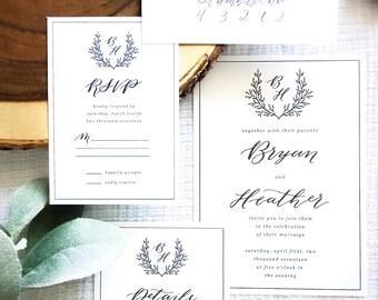 Calligraphy Wedding Invitations // Semi-Custom Invitation Suite // Save the Date Suite // Wedding Invitation Suite // CAMBRIDGE