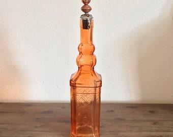 Vintage Orange Glass Bottle Decanter with Metal Stopper; Orange Glass Bottle; Art Deco Decanter; Vintage Decanter; Liquor Decanter