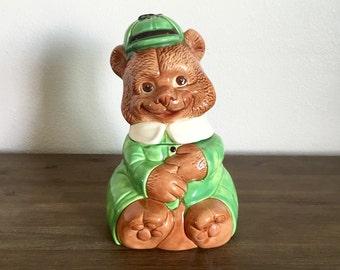 Vintage Ceramic Bear Cookie Jar; Ceramic Cookie Jar; Ceramic Bear; Bear Cookie Jar; Teddy Bear Jar; Ceramic Bear Jar; Vintage Cookie Jar