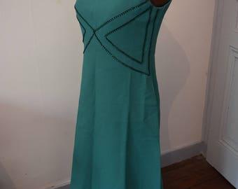 Wonderful 1960 vintage Maxi evening dress 6 US 8 UK green rhinestone babydoll dress //Superbe evening 1960 36 green rhinestone vintage style babydoll