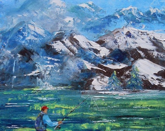 "Painting ""Fisherman in mountain"""