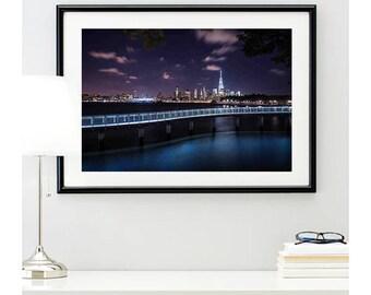 New York Skyline Photo Print #1 | new york photo | cityscape night lights | new york city picture | NY wall art | home decor | 11 sizes